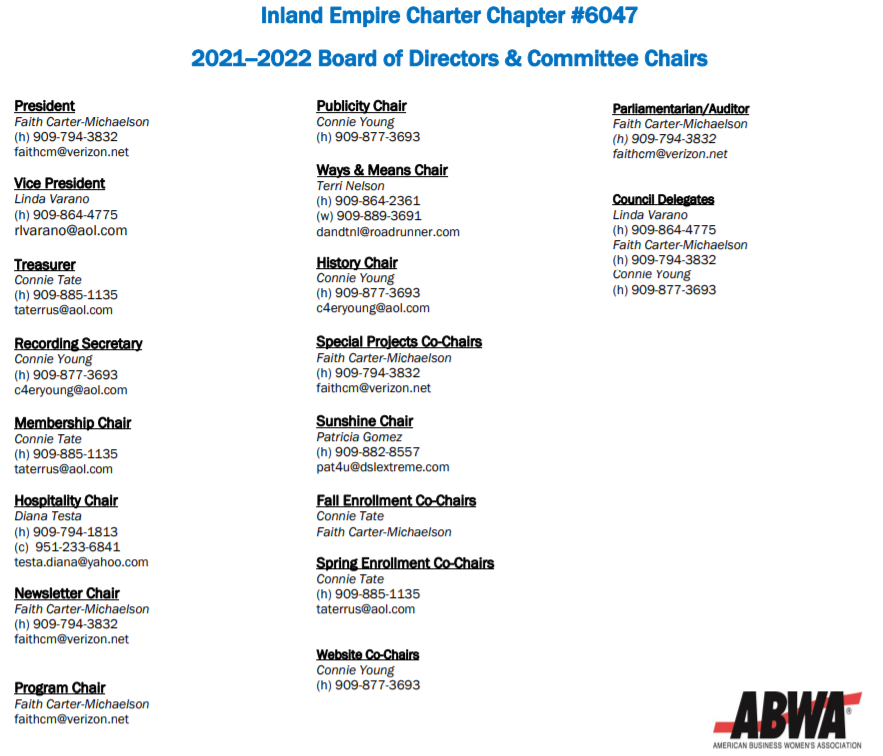 2021-2022 Board of Directors and Committee Chairs
